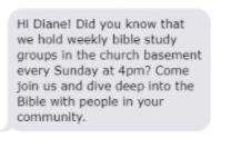 church sms example